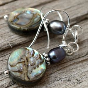 Paua abalone sterling silver earrings w/ pearls